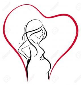 40902521-Silhouette-de-coeur-de-femme-enceinte-amour-vecteur-logo-Banque-d'images
